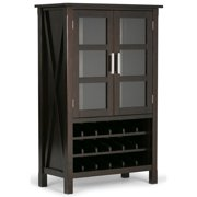 Simpli Home Kitchener Solid Wood High Storage Wine Rack Cabinet in Hickory Brown