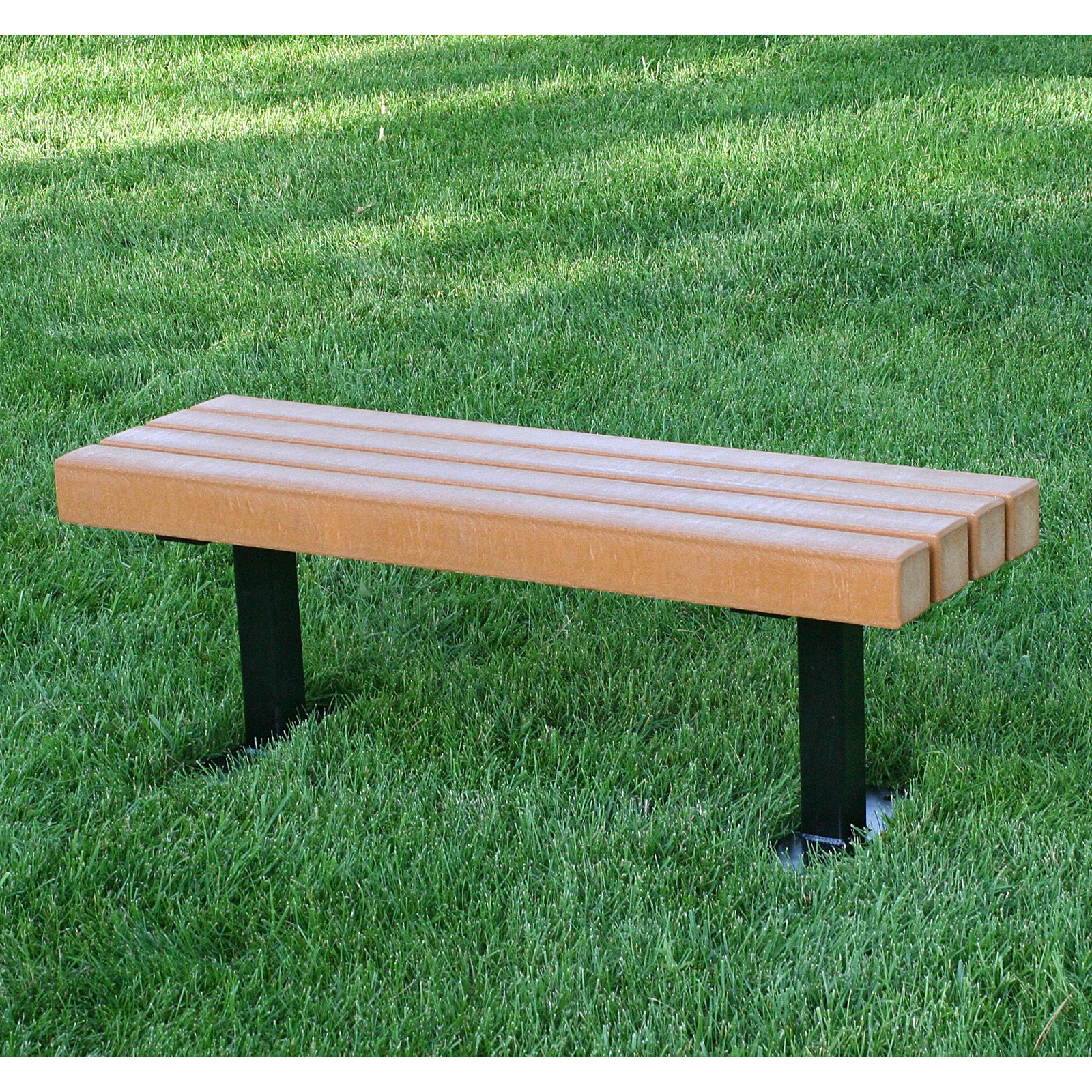 JP Trailside Recycled Plastic Commercial Backless Bench
