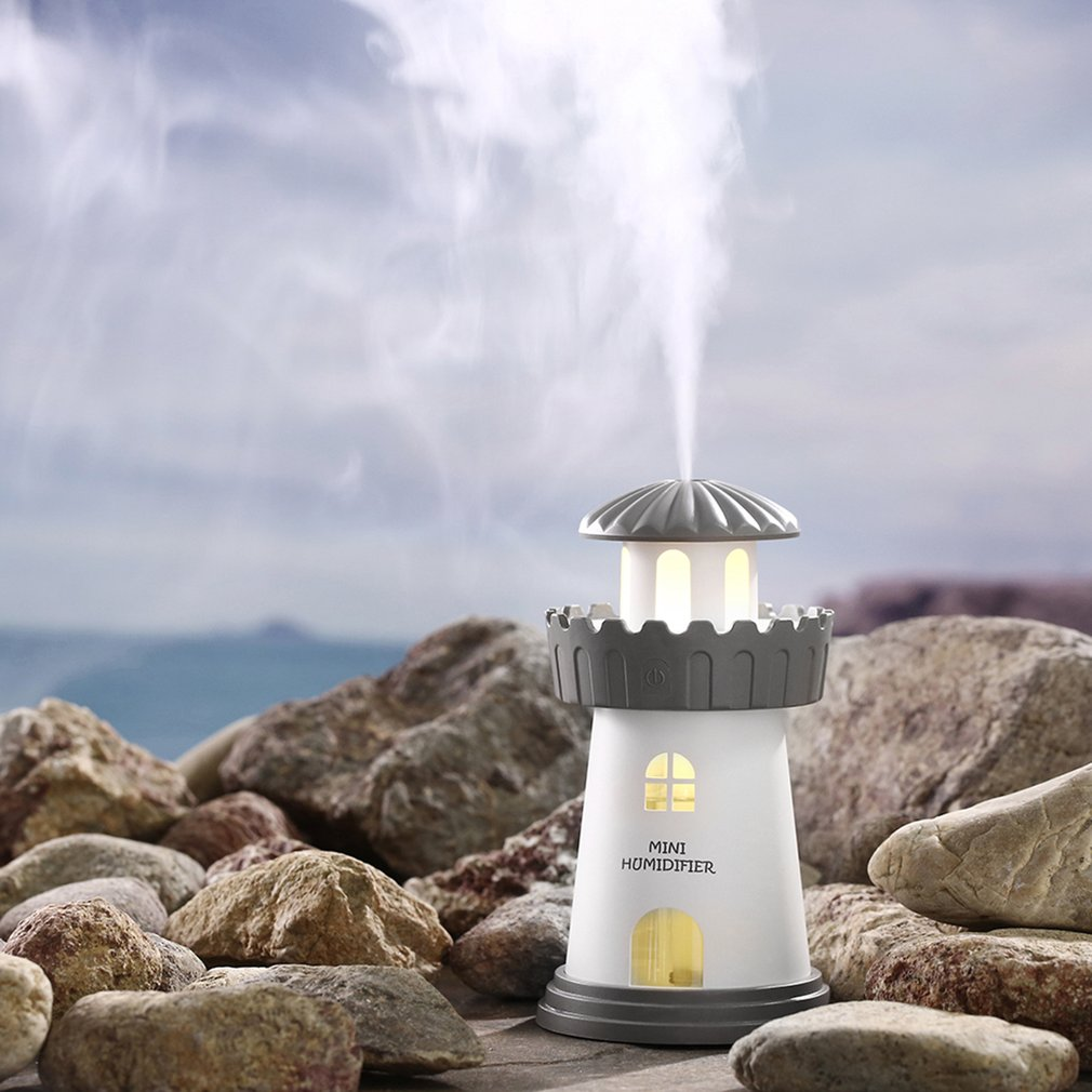 Portable Car USB Air Humidifier Night Light Beacon-shaped Aromatherapy Diffuser Household Air Purifier Essential Oil Diffusers