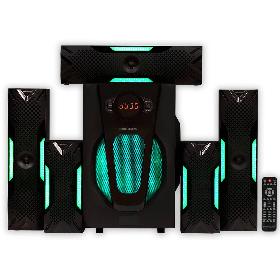 Theater Solutions TS524 5.1 Powered Home Theater Multimedia Speaker System with USB/SD Inputs and Green LED Lights