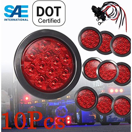 10 Solid Round 4 Red Led Light Brake Stop Turn Tail Signal W Grommet Pigtail Kit For Truck Trailer Jeep Tractor Rv Dot Sae Roved