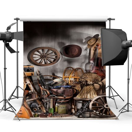 Old West Props (ABPHOTO Polyester 5x7ft West Cowboy Backdrop Old Barn Vintage Wheel Wood Ladder Guitar Hat Rustic Stripes Wood Plank Golden Wheat Interior Photography Background Kids Adults Photo Studio)