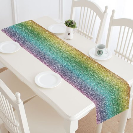 MYPOP Bling Glitter Table Runner Home Decor 14x72 Inch,Colorfull Rainbow Table Cloth Runner for Wedding Party Banquet Decoration](Rainbow Table Decorations)