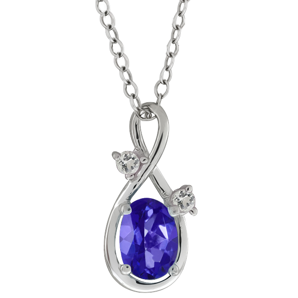 1.03 Ct Oval Purple Blue Mystic Topaz and Topaz 14k White Gold Pendant