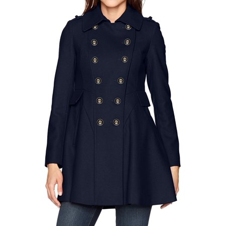 Via Spiga Leather Coat - Via Spiga NEW Blue Womens Size 16 Double Breasted Fit N Flare Coat