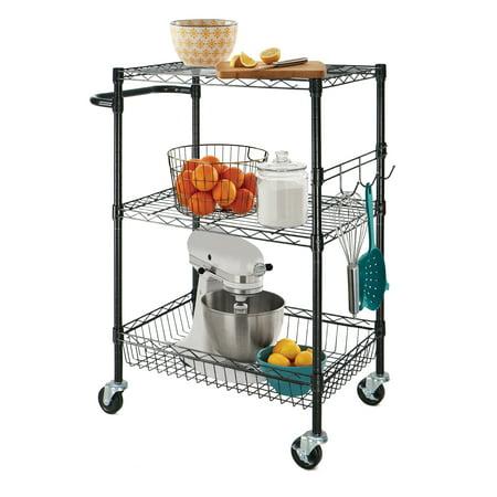 "Hyper Tough 16""Dx30.3""Wx36.2""H 3-Shelf Rolling Cart, Black"