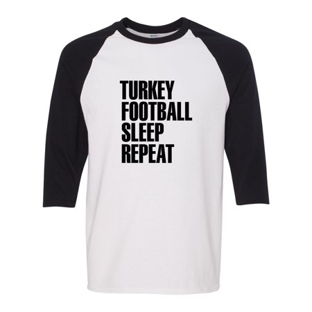 Turkey Football Sleep Repeat Thanksgiving  Mens Graphic Tees T-Shirt