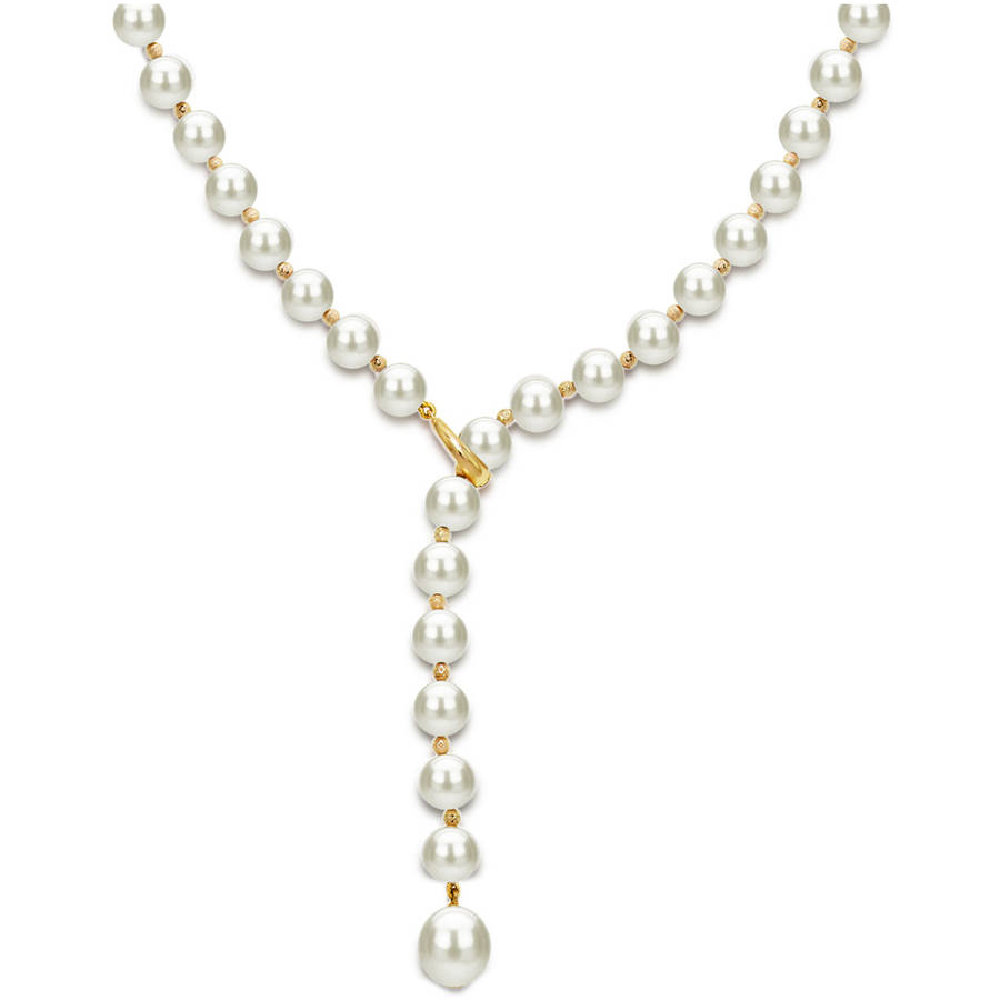 Mother's Day Gift 14kt Gold Over Sterling Silver 7-8mm 9-10mm White Freshwater Pearl Beaded Lariat Y Adjustable... by ADDURN
