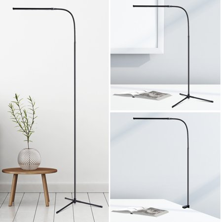 Ultra Slim LED Floor Lamp, Flexible Dimmable Gooseneck Desk Lamp With C-Clamp And Tripod Base, USB Powered Energy-Saving Reading Lamp For Bedrooms Living Room Study Office, Black