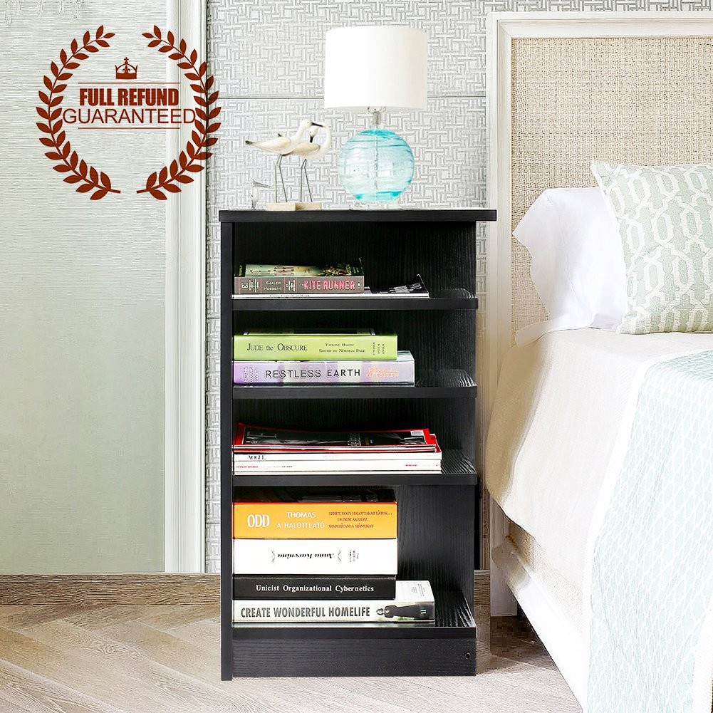 estink 4 tier wood bedside table night stand bedroom storage rack rh walmart com bedroom storage hacks bedroom storage racking