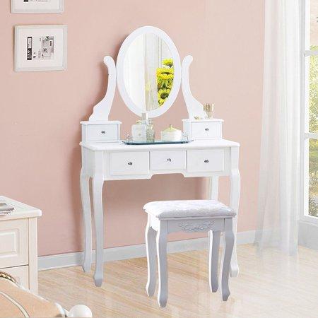 5-Drawers Dressing Makeup Table Vanity Furniture Set with Mirror & Stool ()