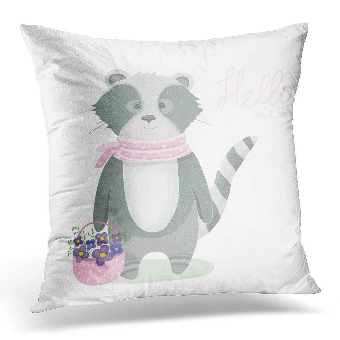 ARHOME Colorful Animal Cartoon Raccoon in Pink Dotted Scarf Basket with Flowers Kids Gray Hello Pillow Case Pillow Cover 18x18 inch