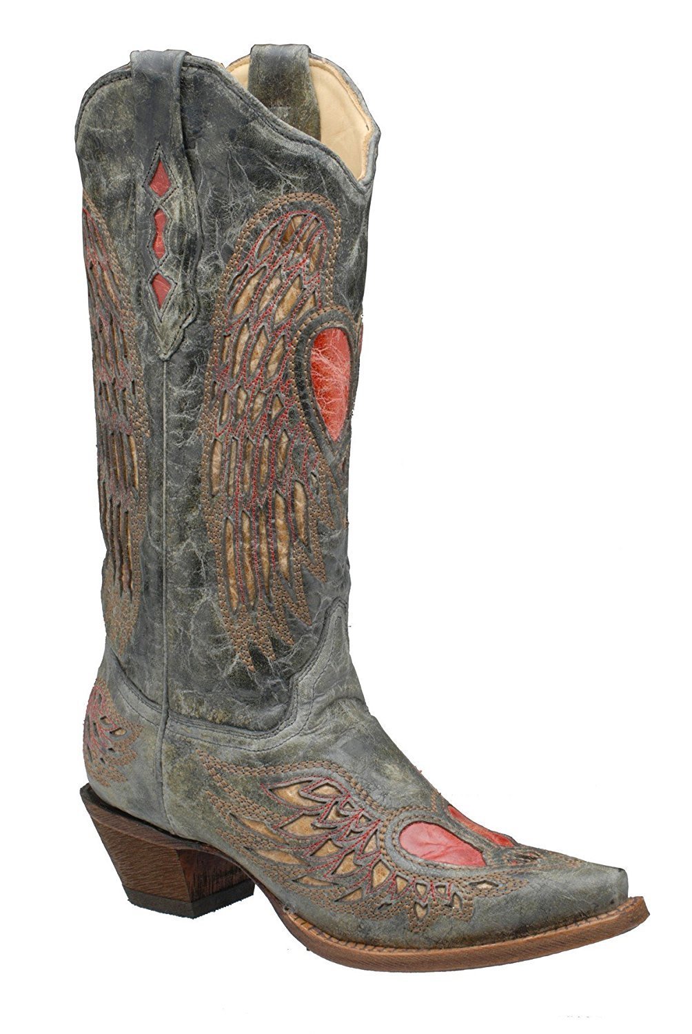 CORRAL Women's Black/Antique Saddle Wing and Heart Inlay Snip Toe Cowgirl Boots A1975 (10.5 B(M) US)