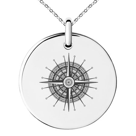 Needle Gauge Pendant (Stainless Steel Nautical Needle Dial Compass Engraved Small Medallion Circle Charm Pendant)