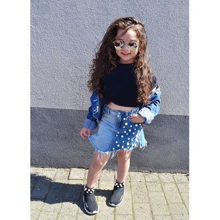 Summer Kids Girls Clothes Black T-shirt Pearled Denim Skirts Outfit set    Walmart Canada