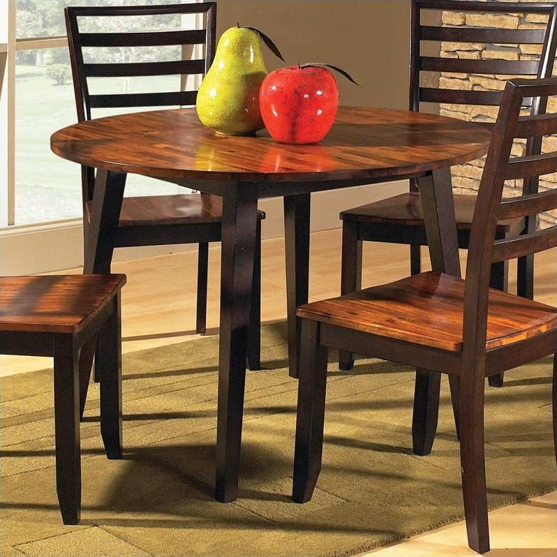 Charming Steve Silver Company Abaco Double Drop Leaf Round Casual Dining Table In  Acacia Finish