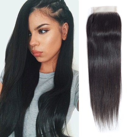 "YYONG Peruvian Lace Closure Straight Bleached Knots Unprocessed Closure Virgin Hair Straight Closure Human Hair , 18"""