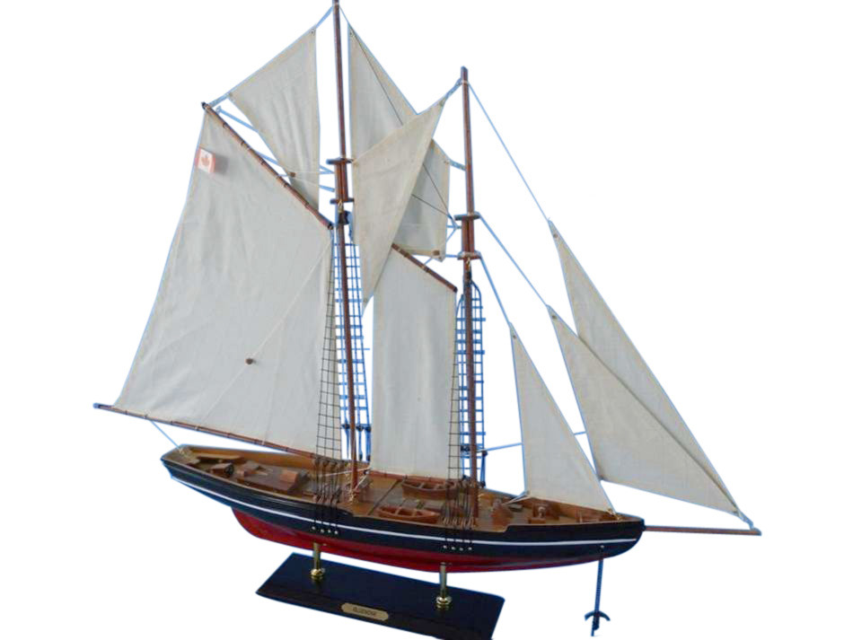 "Bluenose 32"" Wood Sailboat Model Sailboat Model Decor Wooden Yacht Model Model Sailing Boat Nautical Decor Not A Model Ship Kit by Handcrafted Nautical Decor"
