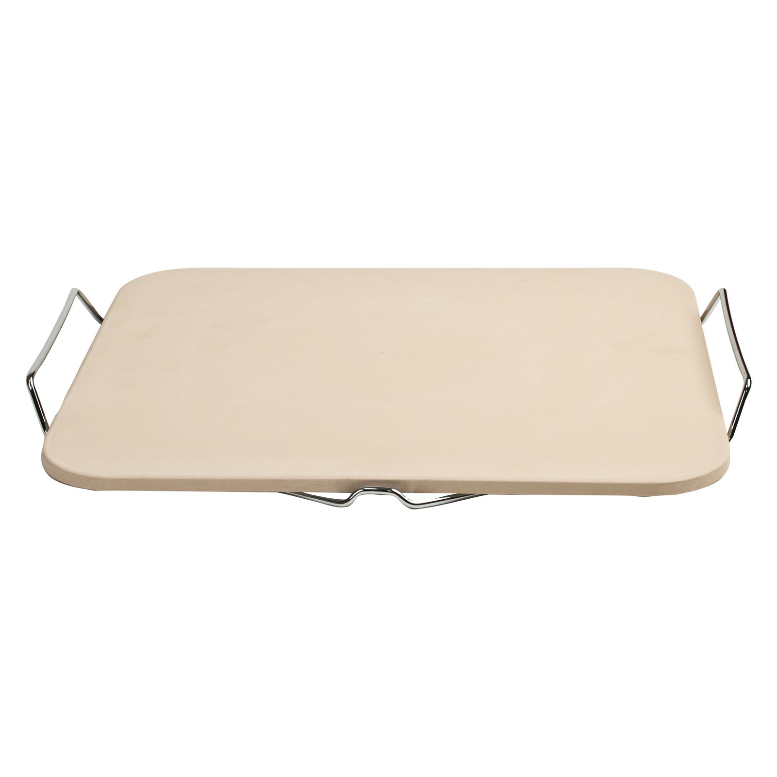 Pizzacraft Rectangle Pizza Stone and Baking Stone with Wire Frame for Oven, Grill or BBQ,... by The Companion Group