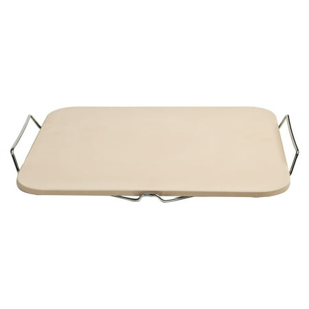 Bbq Pizza Stone (Pizzacraft Rectangle Pizza Stone and Baking Stone with Wire Frame for Oven, Grill or BBQ, PC0002 )