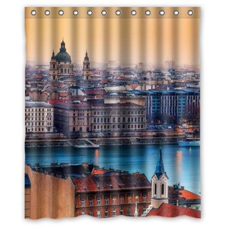 Hungarian Water - GreenDecor View Budapest Hungary Waterproof Shower Curtain Set with Hooks Bathroom Accessories Size 60x72 inches