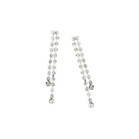 - Silver Crystal Rhinestone 2 Strands Dangle Earrings