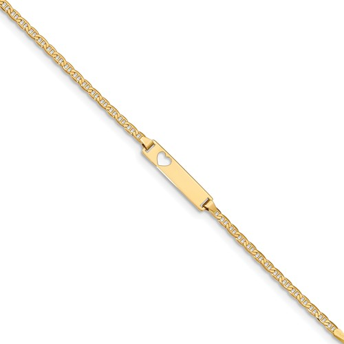 14k Yellow Gold 6in Heart Anchor Baby/Child ID Bracelet (Plate: 0.85in x 0.2in)
