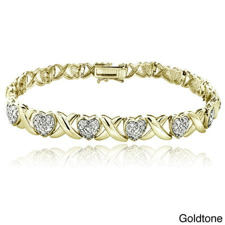1/2ct TDW Diamond x and Heart Link Bracelet - Eye Link Diamond Bracelet