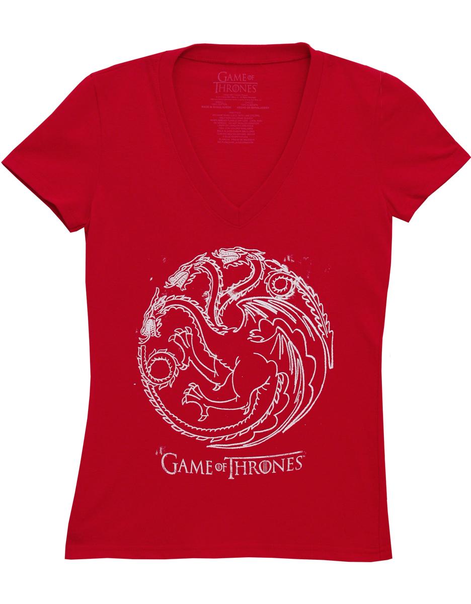 Game Of Thrones Red Dragon House Targaryen Symbol Juniors T-Shirt Tee