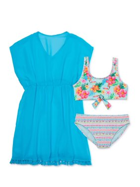Wonder Nation Girls 4-18 Tropical Bikini Swimsuit And Caftan Cover-Up, 3-Piece Set