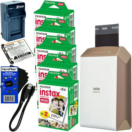 Fujifilm Instax Share Smartphone Printer Sp 2  Gold    Instax Mini Instant Film  100 Sheets    Rchrgbl  Battery   Ac Dc Charger   Herofiber  Gentle Cleaning Cloth