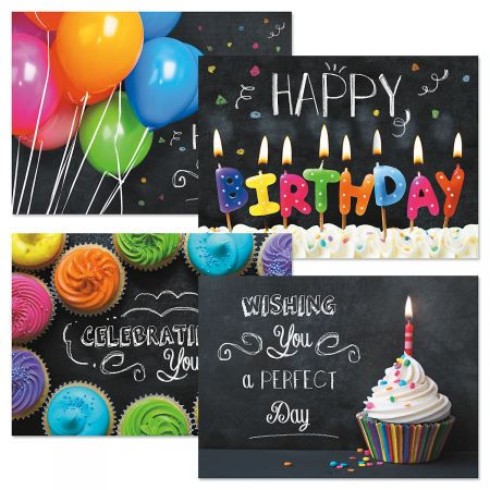 Bright on Black Birthday Cards - Set of 8 (2 of each)