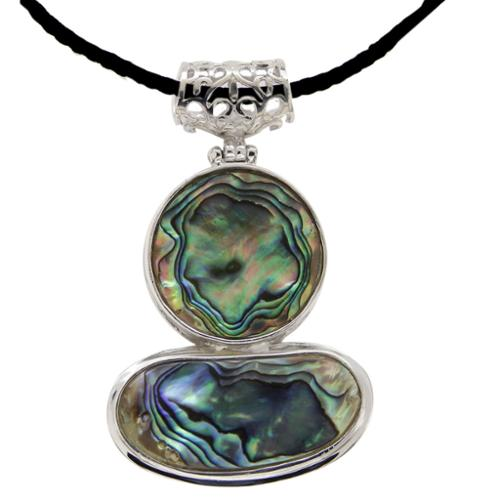V3 Designs Sterling Silver Abalone Shell Fashion Pendant Necklace.