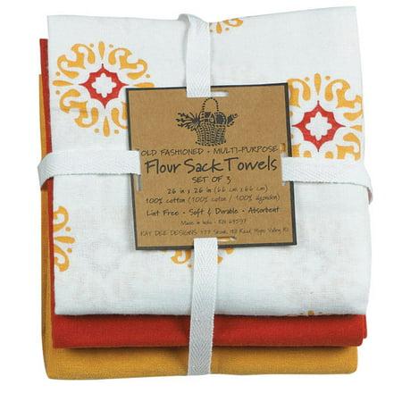 Honey Medallion Kay Dee Designs 3 Piece Flour Sack Towel Set - 26 in x 26 in ()