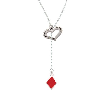Hope Diamond Necklace - Card Suit - Red Diamond - Dream Hope Wish Heart Lariat Necklace