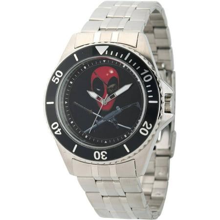 Marvel's Deadpool Men's Honor Stainless Steel Watch, Black Bezel, Stainless Steel Bracelet