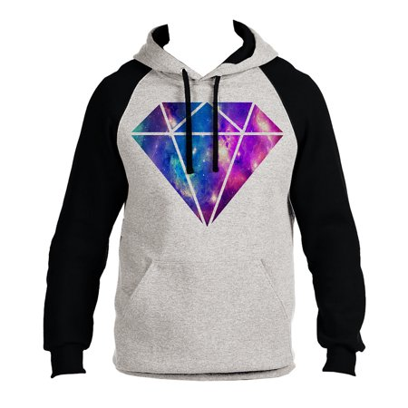 Men's Galaxy Diamond B1264 PLY Gray/Black Raglan Hoodie Large