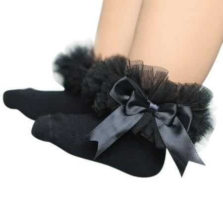 Baby Girls Eyelet Frilly Bowknot Princess Lace Anti-slip Socks Newborn/Infant/Toddler/Little Girls