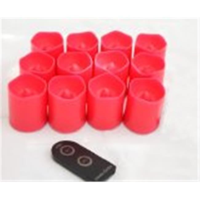 Candle Choice D38R-P1519M-R-12 Red Plastic Cover Simple Remote Control LED Amber-Color Votive Candle Light