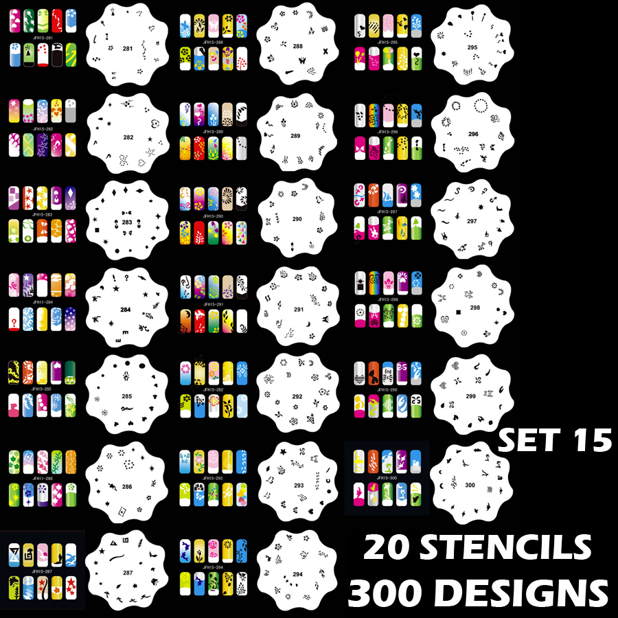 Set 15 300 Airbrush Nail Art STENCIL DESIGNS 20 Round Template Sheets Kit Paint
