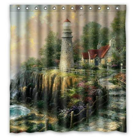 HelloDecor The Light Of Peace Sea Lighthouse Shower Curtain Polyester Fabric Bathroom Decorative Curtain Size 66x72 Inches (Fabric Lighthouse Shower Curtain)