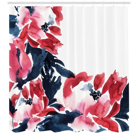 Floral Shower Curtain, Flowers in Watercolor Style Effect Illustration of Peonies Spring Inspired Print, Fabric Bathroom Set with Hooks, Dark Blue Red, by - Shower Of Flowers