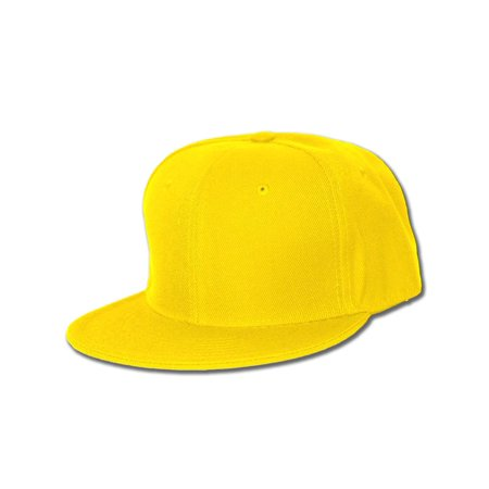 Plain Fitted Flat Bill Hat, (Solid and Neon Colors Available) ()
