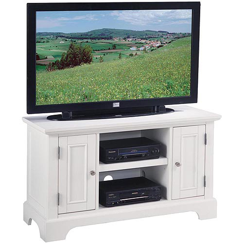 "Home Styles Naples Entertainment Stand - Up to 46"" Screen Support - Flat Panel Display Type Supported - 3 x Shelf(ves) - 26"" Height x 44"" Width x 18"" Depth - Clear Coat - Hardwood, Wood - White"