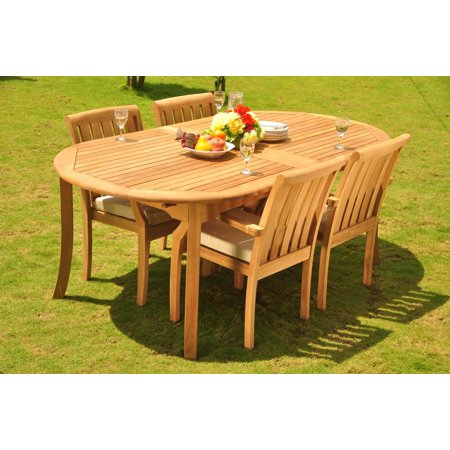 Teak Dining Set Seater Pc Double Extensions Oval Dining - Oval dining table for 4