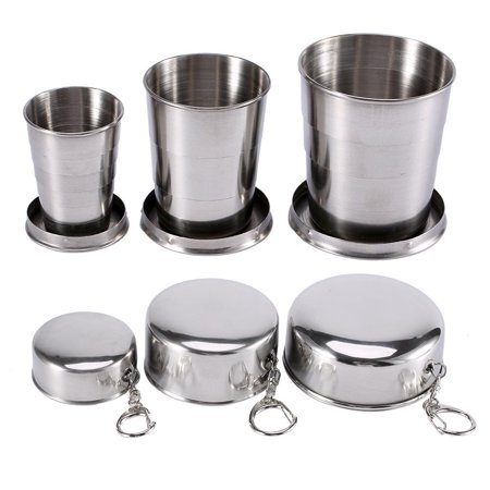 HURRISE S/M/L Telescopic Folding Travel Cup Stainless Steel Retractable Collapsible Portable Cup Outdoor