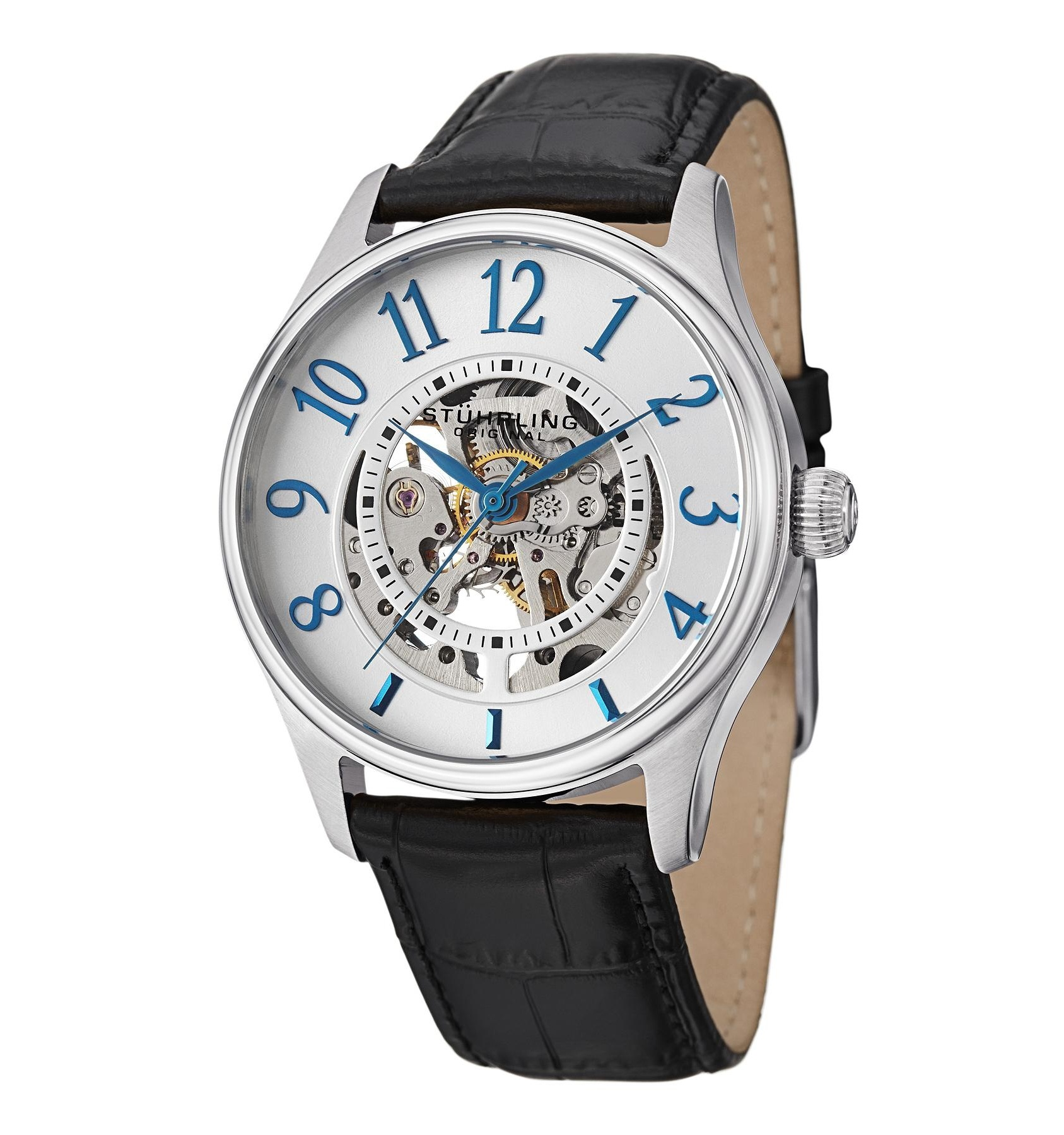 Stuhrling 746L.01 Delphi Solaris Automatic Skeleton Leather Strap Mens Watch