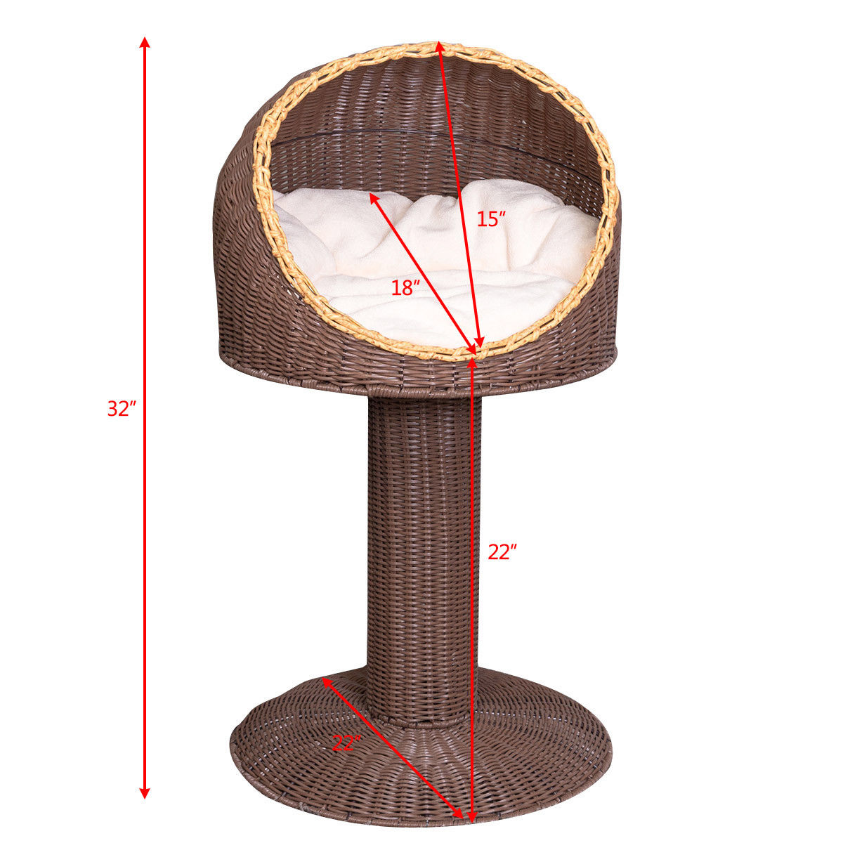 Gymax 17'' Cat Bed Home Ball Hooded Rattan Wicker Elevated Cat Kitten with Cushion - image 3 of 9