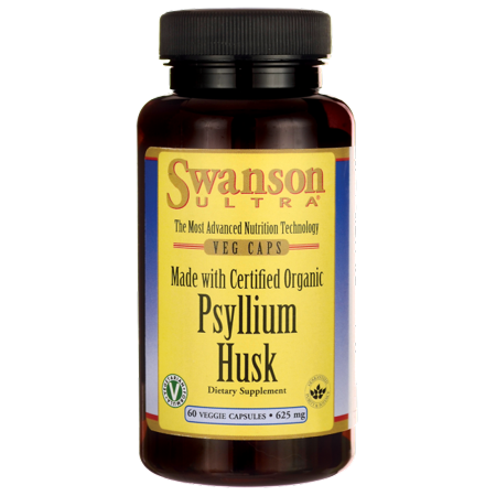 Swanson Made with Certified Organic Psyllium Husk 625 mg 60 Veg Caps