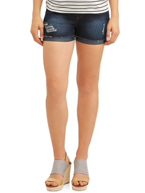 Oh! Mamma Maternity Overbelly Distressed Shorts - Available in Plus Sizes